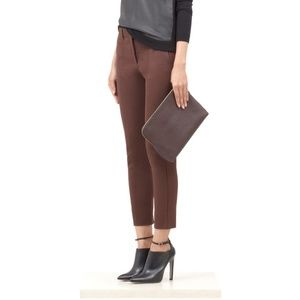 Reed Krakoff Textured Cropped Maroon Ankle pant